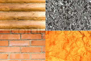Collection of different backgrounds (wood, glass, brick and old paper)