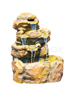 small ornamental waterfall of stones isolated on white background