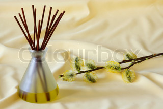 Wooden sticks in essential oil