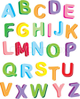 3d colorfull alphabet. Vector letters set.