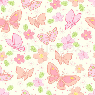 seamless vector background with butterfly colorful illustration