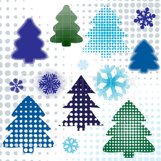 abstract set christmas tree. design elements coloful illustration