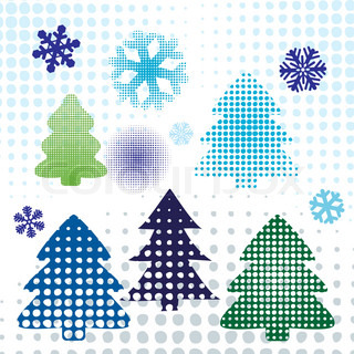Christmas tree set. vector elements for design