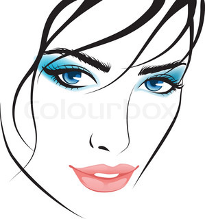 beauty girl face. design elements colorful illustration