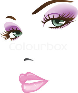 beauty girl face. design elements coloful illustration