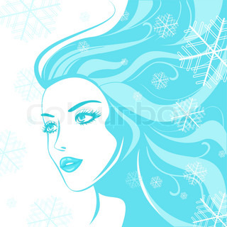 face winter girl vector illustration colorful clipart