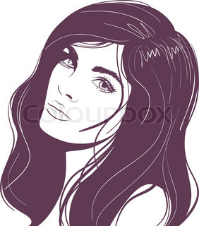 beauty face girl portrait. Vector illustration