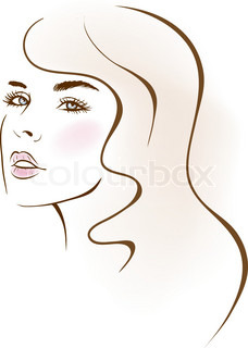 nice girl face. design elements. Vector Illustration