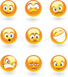 Sæt af ni smilies med forskellige udtryk