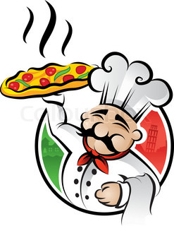 Italian cartoon chef with a freshly baked pizza