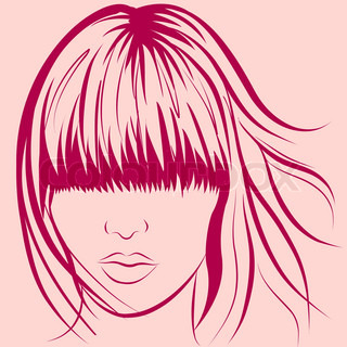 vector woman face with long stylish hair