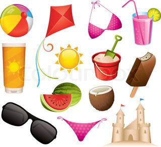 13 sommer og strand vektor ikoner