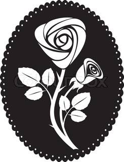 vector rose art black backdrop vintage illustration