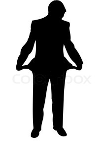 Businessman with emptyb pockets. Silhouette