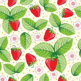 Seamless sweet strawberry background. Vector illustration