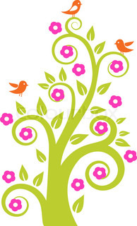 abstract tree with birds. Colorful vector illustration