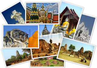 Traveling around Thailand in collage with several shots