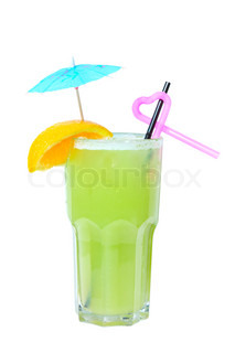 Tropical green cocktail (rom, liqueur, lemon fresh). Isolated on white