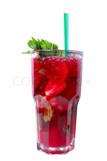Red cocktail with vodka, cherry juices and strawberries. Isolated on white