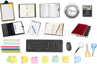 Note papers and office supplies. Vector