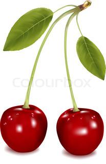 To kirsebær mod hvid baggrund.