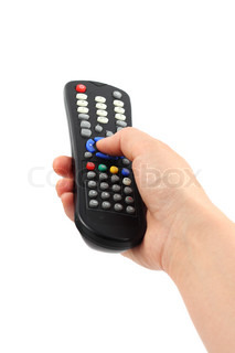 Hand with remote control on white