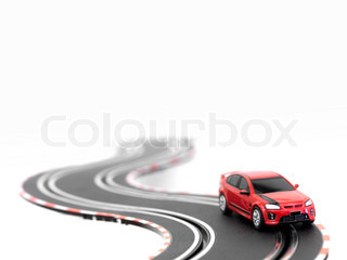 A slot car racing track isolated on a white background