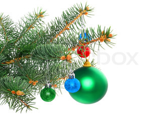 Christmas and New Year decoration- balls, tinsel, candel .Isolated on the white background