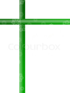 Green ribbon isolated against a white background