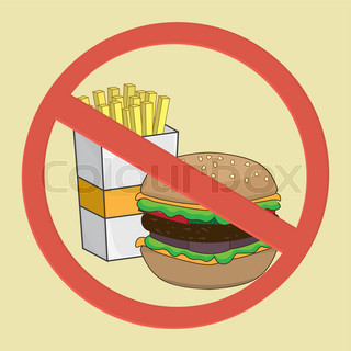 photo-realistic vector illustration. fast food danger label (colored