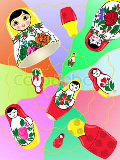 Russian nesting dolls on an abstract background.