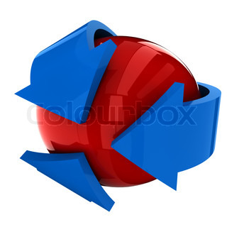the red ball with the blue arrow on a white background