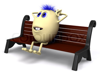 Blue haired puppet resting on brown park bench