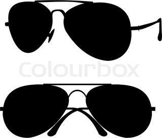black classical sunglasses in metal frame - isolated illustration on white background, black