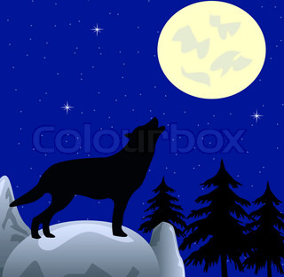 Wolf on in the night wails on moon