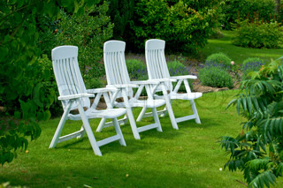 Garden chairs on the lawn on a summers day