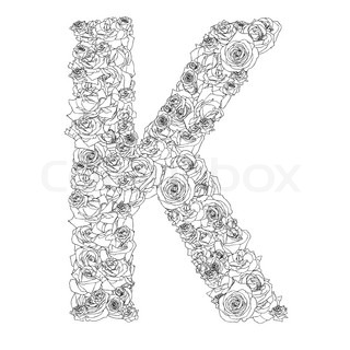 K Letter In Rose Flower alphabet of red roses, characters K | Vector | Colourbox