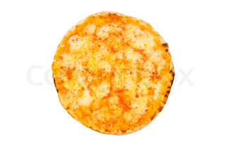 round pizza isolated on the white background stock photo colourbox. Black Bedroom Furniture Sets. Home Design Ideas
