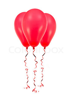 Red balloons isolated against a white background