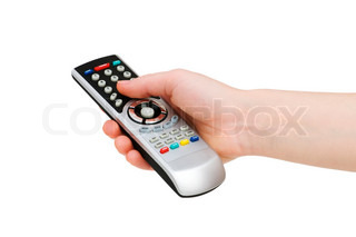Hand with remote control isolated on white