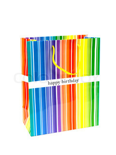 A happy birthday gift bag isolated against a white background