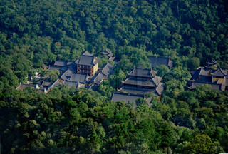 aerial view of chinese pagodas