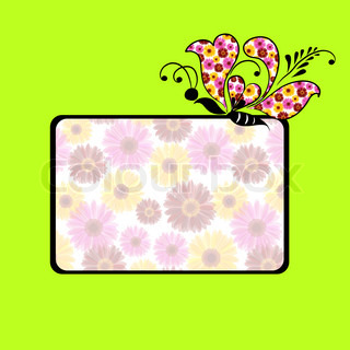 Green greeting card with butterfly and daisy flowers