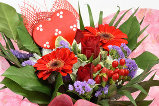 Colourful flower bouquet with heart
