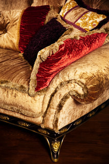 beautiful velvet cushions on the fashionable sofa