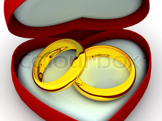 Box as heart with  wedding rings. 3d