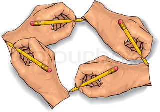 Vector illustration of an four hand drawing with a pencil.