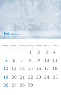 Page of 2012 February month wall calendar (size 11x17 inch) with seasonal nature photo