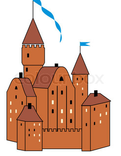 medieval knight's castle - isolated  illustration on white background