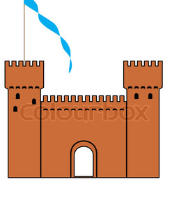 knight's castle of silhouette - isolated  illustration on white background